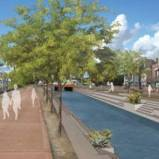 """Rendering of proposed redesign of the canal at 16th St and Indian School Rd. From """"Canalscape"""""""