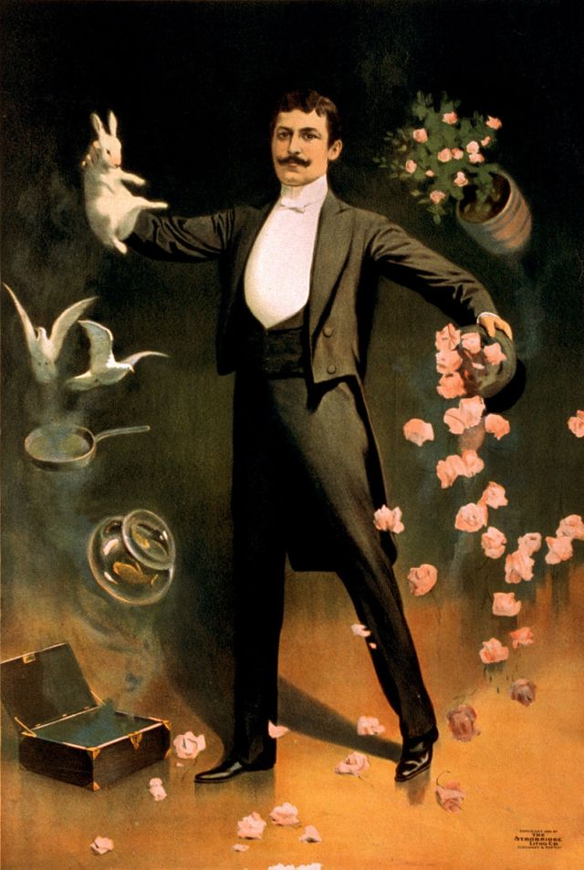 zan_zig_performing_with_rabbit_and_roses_magician_poster_1899